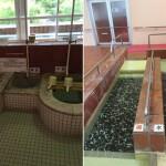 交互の温冷浴、歩行水槽などの鹿教湯温泉のリハビリ施設。ドイツのクナイプ療法の施設にも似ています。