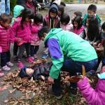 地域の幼稚園での研修会の一コマ。樹木や落ち葉を有効に活用しました(中央は上原理事長)。