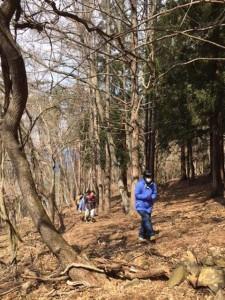 まずは地域の山林をみなさんと森林散策